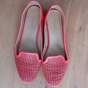 J. Crew Cleo Perforated Leather Red Loafers